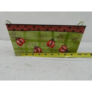 Ladybug tin planter bucket container floral craft